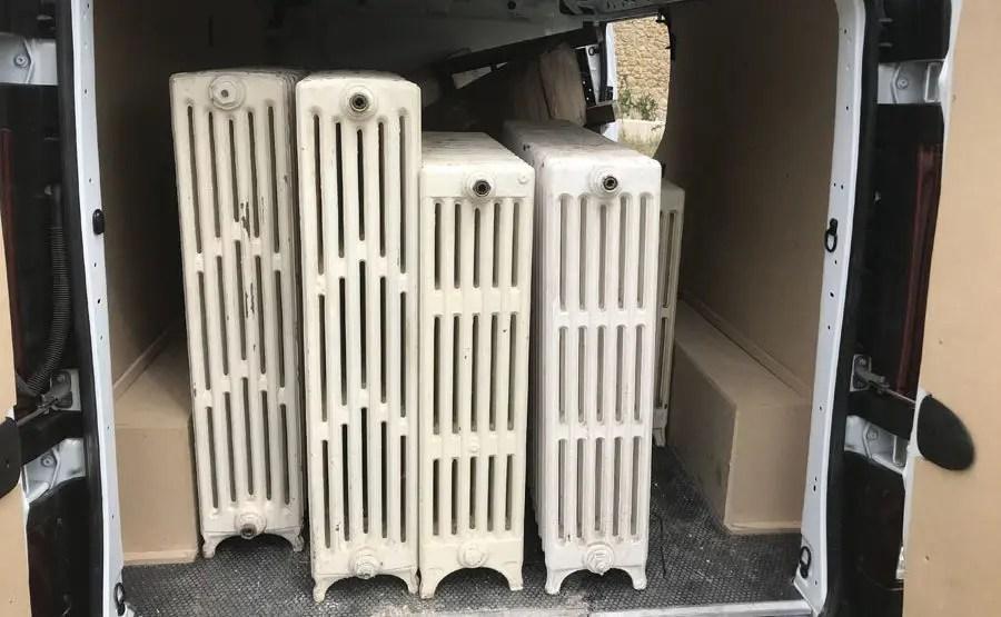 Enlèvement de radiateurs en fonte sur site