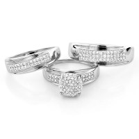 10K Gold Engagement Trio Diamond His and Hers Wedding Ring ...