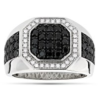 Mens Pinky Rings! 14K White and Black Diamond Ring for Men