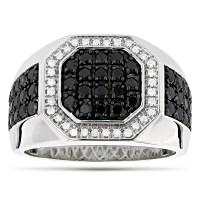 Mens Pinky Rings! 14K White and Black Diamond Ring for Men