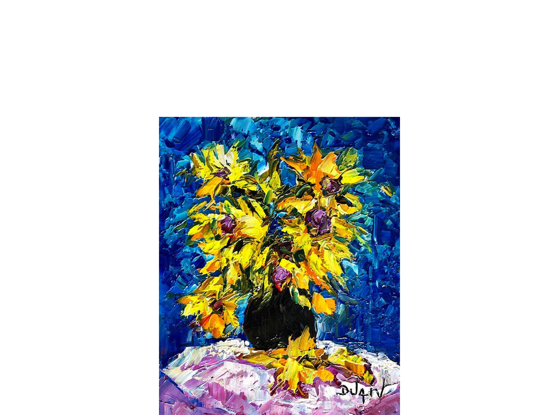 Blue and Sunflowers 16'' x 13''