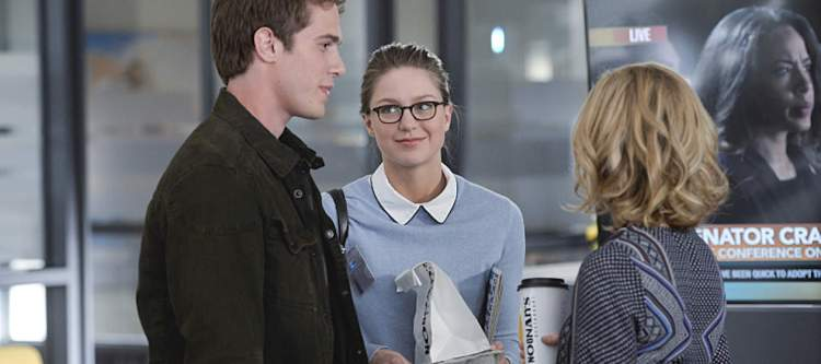 """""""Strange Visitor From Another Planet"""" --  Cat's (Calista Flockhart, right) estranged son, Adam (Blake Jenner, left), arrives in National City, on SUPERGIRL, Monday, Jan. 25 (8:00-9:00 PM, ET/PT) on the CBS Television Network. Also pictured: Melissa Benoist Photo: Darren Michaels/Warner Bros. Entertainment Inc. © 2015 WBEI. All rights reserved."""