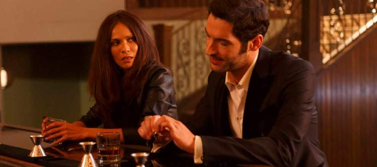 """LUCIFER: L-R: Lesley-Ann Brandt and Tom Ellis in the """"St. Lucifer"""" episode of LUCIFER airing Monday, April 11 (9:01-10:00 PM ET/PT) on FOX. ©2016 Fox Broadcasting Co. CR: Michael Courtney/FOX"""