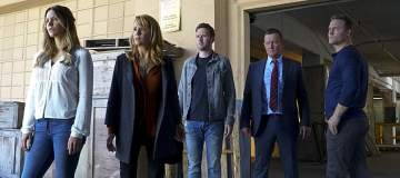 """""""Mother Load"""" -- Paige's estranged mother calls on Team Scorpion when she accidentally uncovers a forgotten nuclear reactor on the verge of exploding, on SCORPION, Monday, Nov. 21 (10:00-11:00 PM, ET/PT), on the CBS Television Network.  Pictured:  Katharine McPhee, Lea Thompson, Eddie Kaye Thomas,  Robert Patrick, Scott Porter.    Photo: Bill Inoshita/CBS ©2016 CBS Broadcasting, Inc. All Rights Reserved"""