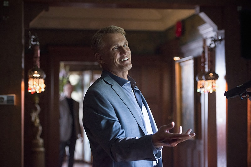 """Arrow -- """"Vigilante"""" -- Image AR507a_0331b.jpg -- Pictured: Dolph Lundgren as Konstantin Kovar -- Photo: Diyah Pera/The CW -- © 2016 The CW Network, LLC. All Rights Reserved."""