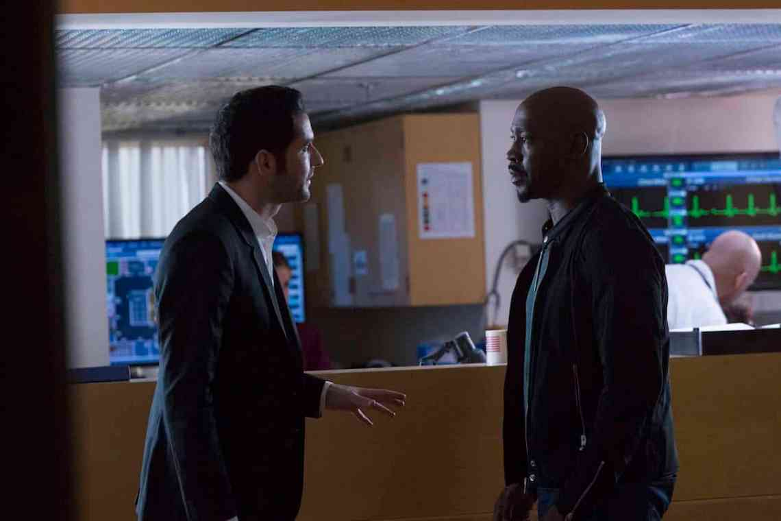 """LUCIFER: L-R: Tom Ellis and DB Woodside in the """"A Good Day to Die"""" winter finale episode of LUCIFER airing Monday, Jan. 30 (9:01-10:00 PM ET/PT) on FOX. Cr: Michael Courtney/FOX."""