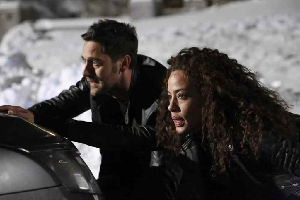 "THE BLACKLIST: REDEMPTION -- ""Independence, U.S.A."" Episode 102 -- Pictured: (l-r) Ryan Eggold as Tom Keen, Tawny Cypress as Nez Rowan -- (Photo by: Will Hart/NBC)"