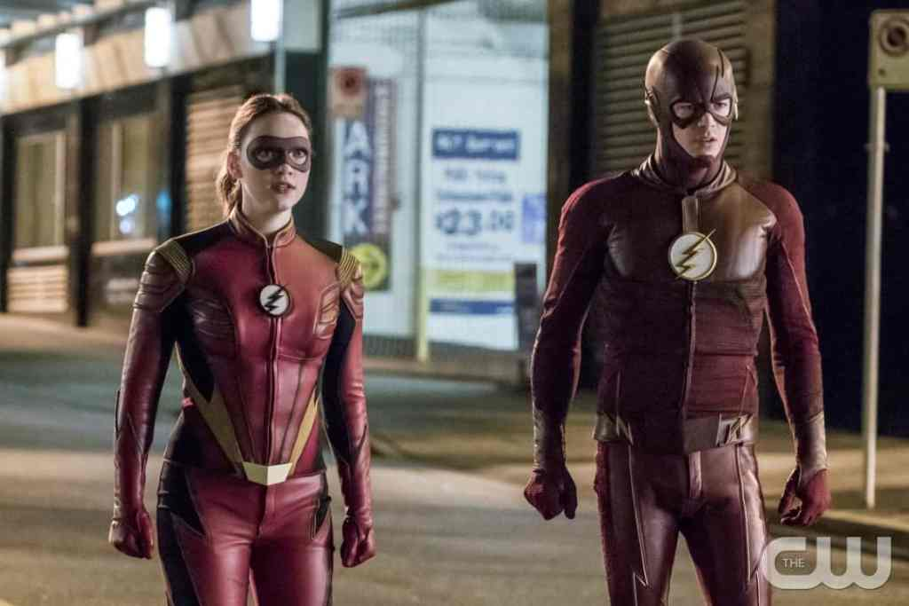 """The Flash -- """"Attack on Central City"""" -- FLA314a_0153b.jpg -- Pictured (L-R): Violett Beane as Jesse Quick and Grant Gustin as The Flash -- Photo: Katie Yu/The CW -- © 2017 The CW Network, LLC. All rights reserved."""