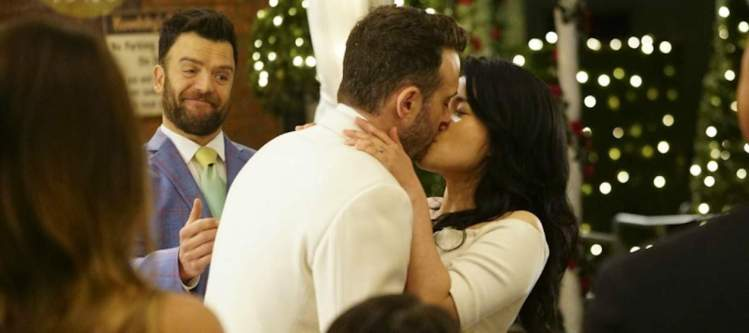 """""""Something Burrowed, Something Blew"""" -- Team Scorpion help Toby and Happy race to the altar to say """"I Do"""" after a simple job extinguishing a tunnel fire becomes catastrophic, on SCORPION, Monday, May 1 (10:00-11:00 PM, ET/PT) on the CBS Television Network. Pictured:     Ray Weisman, Eddie Kaye Thomas. Jadyn Wong. Photo: Sonja Flemming/CBS  ©2017 CBS Broadcasting, Inc. All Rights Reserved"""
