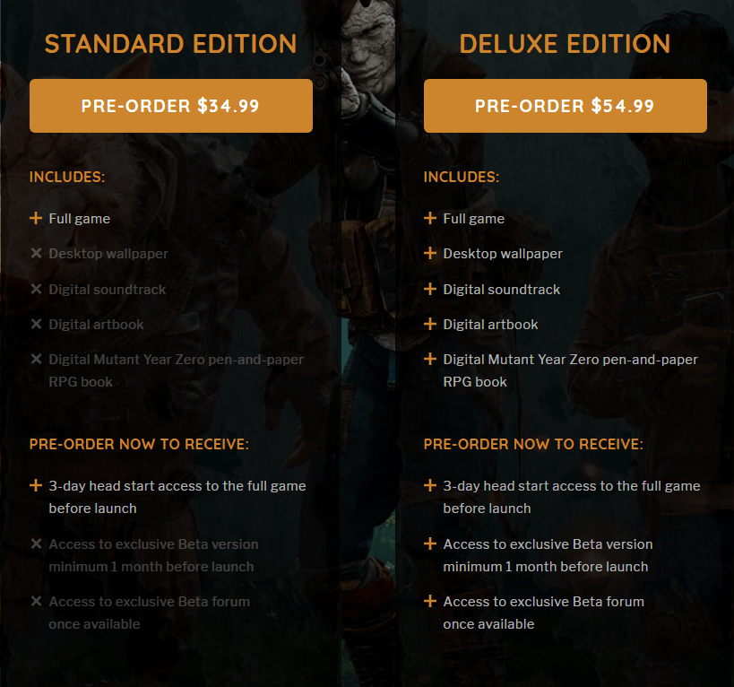 Mutant Year Zero preorder information