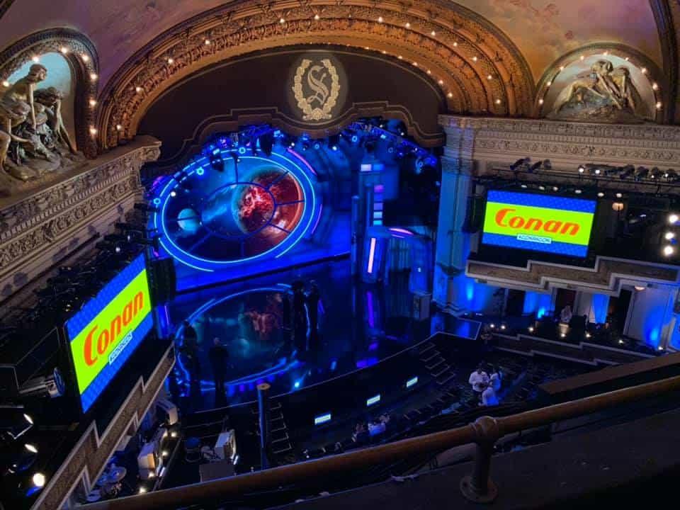 Inside Spreckels Theater for Conan at Comic Con.