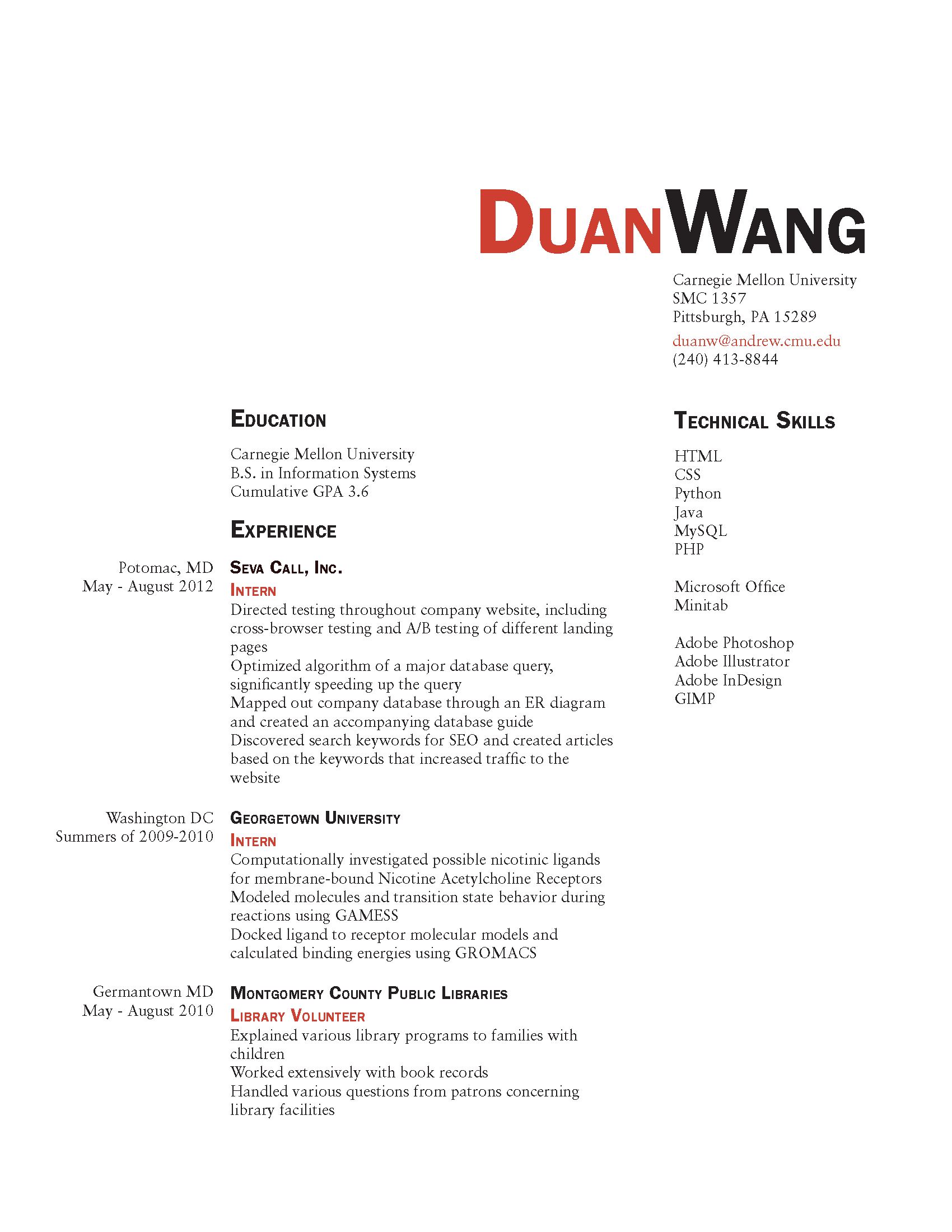 Two Page Resume Header Resume And Business Card Final Duan Wang