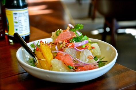 Yam sam som Salad - dhs 44 - Blood orange, pomelo, coconut, red chilli, dried shrimp and shallot