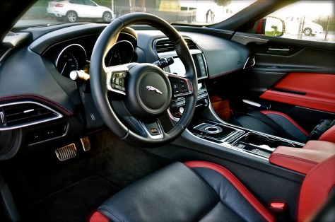 Inside the Jaguar XE S - Race inspired colored sports seats, upholstered in leather with suedecloth inserts((10-Way electric seats)