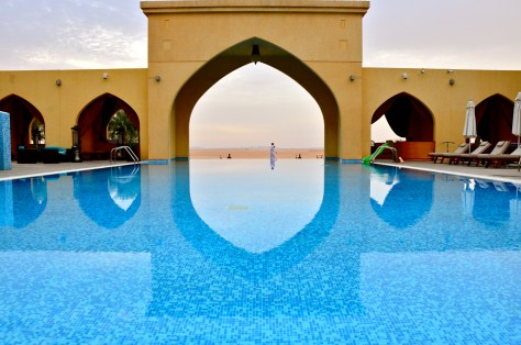 Tilal Liwa Hotel Swimming pool facing the desert