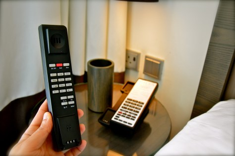 Wireless telephone in our Deluxe room at Vida Downtown Dubai