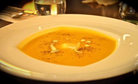 Roasted pumpkin soup with feta cheese ravioli - dhs 42