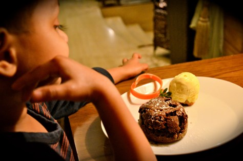 Rich warm chocolate fondant with vanilla ice cream - dhs 45