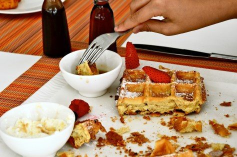 Waffles - dhs 45 - with Chocolate sauce   maple syrup   sweet cream   macerated strawberries