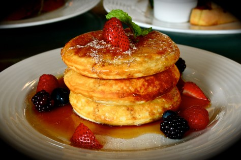 Pancakes - AED 65 - Maple syrup, mixed berries, clotted cream