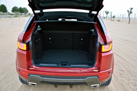 Range Evoque boot space with Powered tailgate