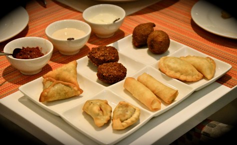 Selection of Hot Mezza - dhs 90 - Lamb sambousek, spinach fatayer, cheese rakakat, lamb kibbeh, falafel, cheese sambousek