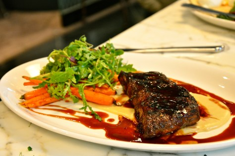WAGYU OYSTER BLADE STEAK , Celery Root Puree, Carrots, Pea Shoots - AED 195