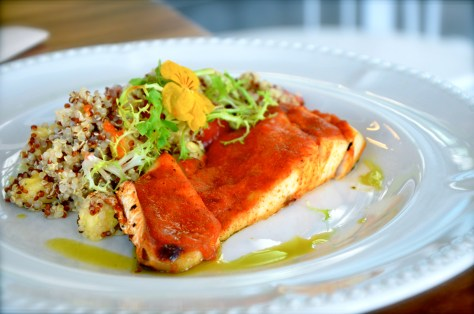 Grilled barramundi - AED 54 - Quinoa pineapple salad, spicy curry sauce