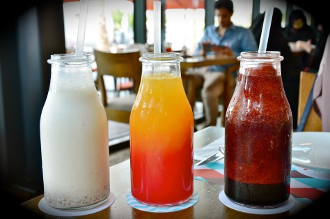 Drinks From left: Logma shake(AED 32), sunset mocktail (AED 28), Vimto frappe - AED 30