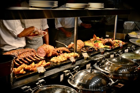 Carving station - Roasted veal leg, lamb rack, roasted beef rack, whole roasted fish, lobster thermidor, yorkshire pudding and sauce