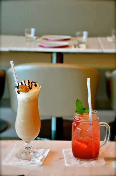 Drinks from left: Mocha peanut butter - AED 30 and Strawberry Rose Fizzle - AED 26
