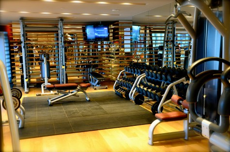 A fully equipped gym with the latest state-of-the-art cardio vascular equipment, machines and free weights area