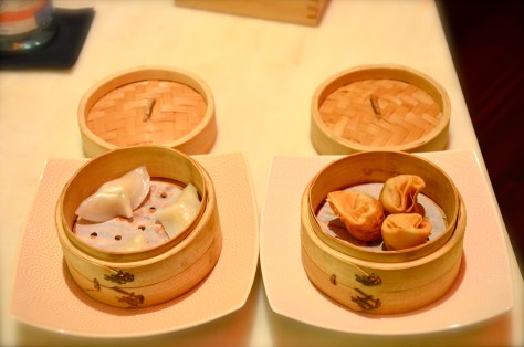 Dimsums From left: Seafood and Asparagus dumpling ,Crispy prawn(AED 24) & coriander Money bags (AED 28)