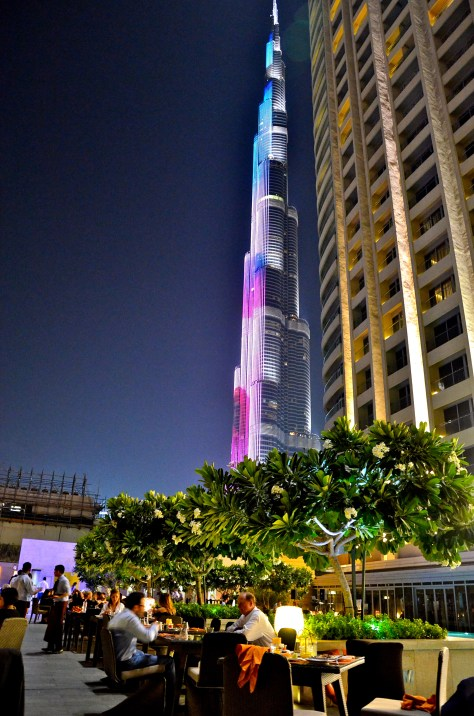 A view of Burj Khalifa(world's tallest building) from Cabana, The Address Dubai Mall