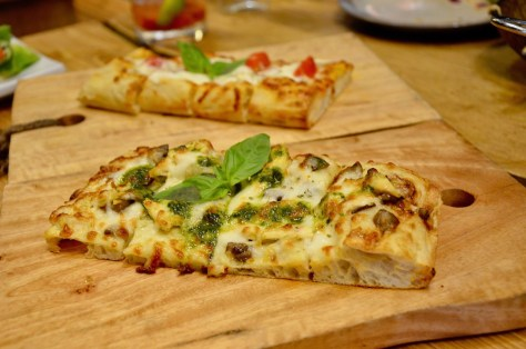 Entrees - Roasted chicken(mushrooms / pesto / bechamel) and Burratta Pizza(fresh tomato / basil / olive oil)