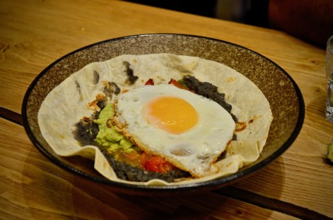Main - HUEVOS RANCHEROS(fried eggs / black beans / guacamole chipotle salsa / tortilla / cheese)