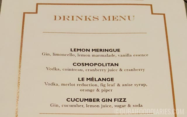 Cocktail menu at La Residence Dubai