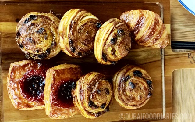 Croissants and danishes at Pots Pans and Boards at The Beach Dubai