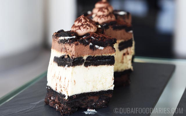 Close up of Oreo cheesecake at Tea Party on 68th Prime68 JW Marriott Marquis Dubai