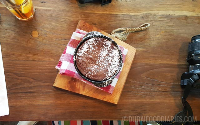 Chocolate fondant after baking at Pots Pans and Boards The Beach Dubai