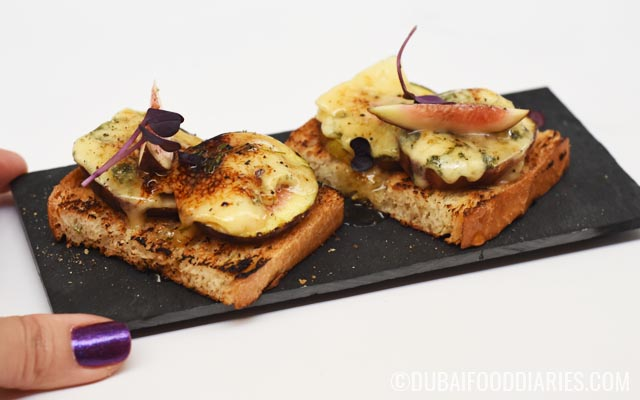 Fig and blue cheese bruschetta at Cocktail Kitchen Jumeirah Lake Towers Dubai