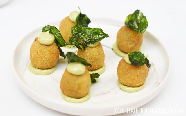 Stuffed fried olives at Cocktail Kitchen Jumeirah Lake Towers Dubai