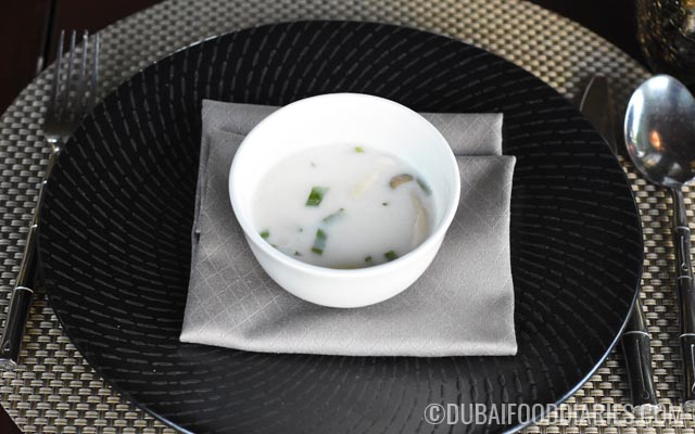 Tom kha gai soup at Thiptara The Palace Downtown Dubai