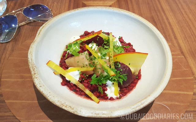Beetroot and barley risotto at Intersect by Lexus Dubai International Financial Center DIFC Dubai