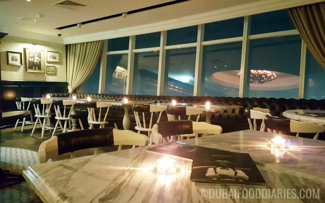 Dining area at Weslodge Saloon at JW Marriott Marquis Dubai