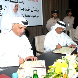 Mattar Al Tayer, Chairman of the Board and Executive Director of RTA and Lt. Gen. Dahi Khalfan Tamim, Dubai Police Chief, signing the MoU.