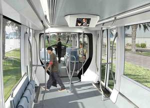 An artist's impression of the interior of the planned Al Sufouh tram. Dubai Road Transport Authority