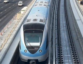 A Metro train doing trial runs on the Red Line track along Shaikh Zayed Road near Al Barsha. Preparations are in full swing for the September 9 launch of the service.