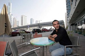 Mohamed Lasfar, the operations manager of java u cafe in Dubai Marina, hopes that the Metro will bring business to his cafe. Jeffrey E Biteng / The National