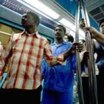 Passengers on the Dubai Metro this week, en route to Al Rigga station in Deira. Jeff Topping / The National